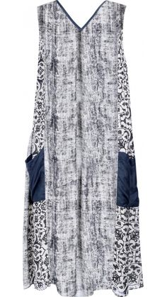 "</p> <p style=""line-height: 11.85pt; font-size: 12.16px;"">Mid-length sleeveless V neck dress in printed silk.</p> <p style=""line-height: 11.85pt; font-size: 12.16px;"">Silk binding around neckline in charcoal.</p> <p style=""line-height: 11.85pt; font-size: 12.16px;"">Centre front panel in liquen with front side panels in charcoal and liquen pattern.</p> <p style=""line-height: 11.85pt; font-size: 12.16px;"">Large pockets on lower sides of skirt panels in charcoal.</p> <p style=""line-height:"