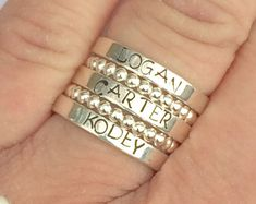 Custom ring Sterling silver stacking ring personalized by smmade
