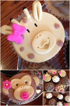 Baby shower cupcakes. It's a girl!  Safari theme.