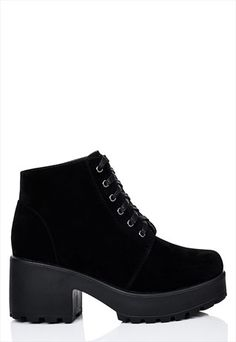 Hothead Lace Up Cleated Sole Platform Block Heel Ankle Boots Shoes - Black Suede Style Block Heel Ankle Boots, Black Ankle Boots, Black Shoes, Heeled Boots, Shoe Boots, Black Suede, Unique Shoes, Cute Shoes, Me Too Shoes