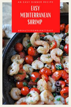 Quite possibly the perfect appetizer or easy dinner, this easy Mediterranean Shrimp is the perfect combination of rich and savory, with the salty bite of olives and capers matching the freshness of the tomato and shrimp. Don't forget to serve it with lots of pita for dipping because the sauce is the best part. Quick and easy dinner recipes. Healthy dinner recipes. 15 minutes dinner recipes. Shrimp dinner recipes. Clean eating dinner recipes. #easydinnerrecipes Shrimp Recipes For Dinner, Clean Eating Recipes For Dinner, Gluten Free Recipes For Dinner, Healthy Dinner Recipes, Mexican Food Recipes, Keto Recipes, 15 Minute Dinners, Fast Dinners, Cheap Dinners