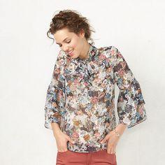 Women's LC Lauren Conrad Floral Flutter Blouse