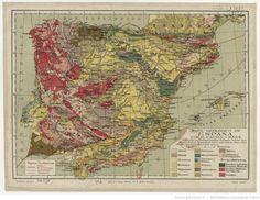 Mapa geológico de España / por M. Faura i Sans, según datos del Instituto geológico de Espasa... | Gallica