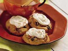 """Spicy Pumpkin Cookies: This is one of my """"signature"""" fall dishes the past few years. I substitute dark chocolate chips for the raisins and cream cheese frosting for the vanilla. Pumpkin Cookie Recipe, Pumpkin Spice Cookies, Pumpkin Dessert, Pumpkin Recipes, Cookie Recipes, Dessert Recipes, Dessert Ideas, Drink Recipes, Fall Recipes"""