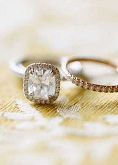 Engagement ring and wedding band <3