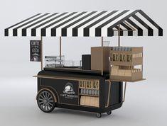 Cafe Shop Design, Kiosk Design, Cafe Interior Design, Coffee Carts, Coffee Shop, Kombi Trailer, Food Cart Design, Mini Cafe, Food Counter
