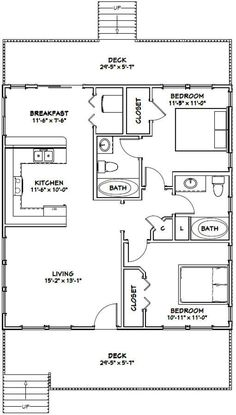 Granny pods with loft Small House Floor Plans, Cottage Floor Plans, House Plans One Story, Craftsman House Plans, Country House Plans, A Frame Floor Plans, Small House Plans Under 1000 Sq Ft, Little House Plans, Small Cabin Plans