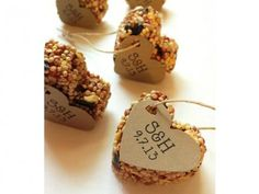 Items similar to 100 Bird Seed Heart Shaped Favor MINI- Wedding and Events - Personalized bird seed favor, Party Favors, Guest Favor on Etsy Winter Wedding Favors, Rustic Wedding Favors, Wedding Favor Bags, Diy Wedding, Wedding Ideas, Winter Weddings, Wedding Inspiration, Summer Wedding, Wedding Decor