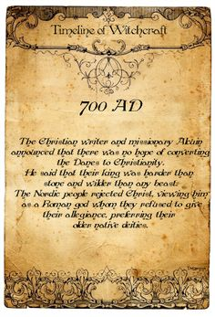 Book of Shadows:  #BOS Timeline of Witchcraft, 700 AD page.