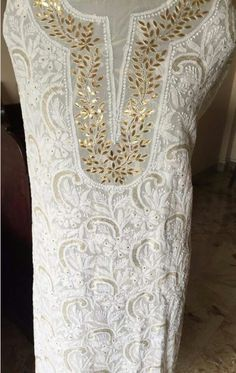 Lucknow Chikan Embroidery with Gota Patti Work [*Sfq*]