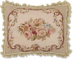 Floral Aubusson Needlepoint Pillow. Rose Bouquet Aubusson Pillow
