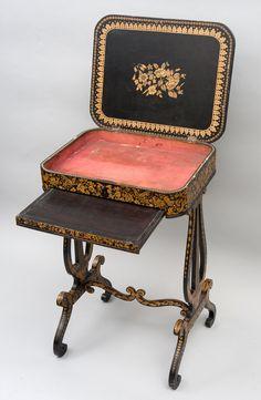 A Good Regency Pen Work Sewing Table image 4