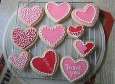 "Valentine Cookies - No Fail Sugar cookies, Toba Garrett's glace' icing to flood and Antonia's royal icing to decorate.  I'm pleased with how they turned out, just wish I could cut myself loose and go crazy.  I think I tend to decorate on the ""safe"" side."
