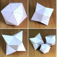 Polyhedra Shapes - Site with hundreds of Templates - Free PDF & GIF Printables Origami Paper Art, 3d Paper, Free Paper, Paper Toys, 3d Templates, Templates Printable Free, Carton Diy, Math Art, Paper Folding