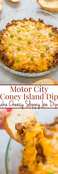 Motor City Coney Island Dip (AKA Cheesy Sloppy Joe Dip) - Easy, ready in 15 minutes, and tastes like sloppy Joes, minus the buns, and covered with cheese!! Great for parties or game day events! Irresistible!!
