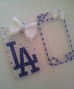 FREE SHIPPING LA Dodgers Bedazzeled Bling Phone by MarleeneysCases, $25.00