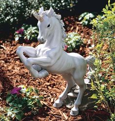 Enchanted Unicorn Mythical Horned Horse. Yard & Garden Decor Statue & Sculptures