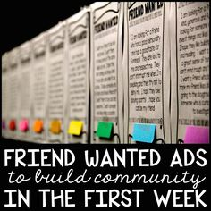 My favorite back to school activity! Friend Wanted Advertisements!