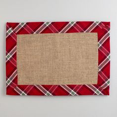 One of my favorite discoveries at WorldMarket.com: Red Plaid Burlap Placemats, Set of 4