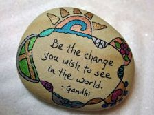 Best painted rock art ideas with quotes you can do (29)