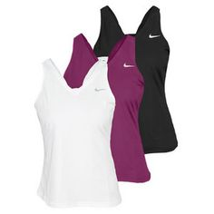 Stay cool and cute in the Nike Women's Dri Fit V Back Tennis Tank. This Dri-FIT tank is super lightweight and modern, with a feminine neckline and cool deep V in the back. The lack of built-in bra lets you choose your comfort and support level, while the stretch jersey fabric moves with you all over the court.Technical Benefits: Dri-FITFabric: 92% Polyester / 8% Spandex Plain JerseyFor information regarding sizes, please refer to our sizing chart.
