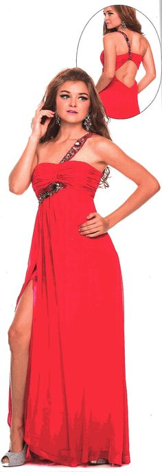 Prom Dress<BR>Evening Dress under $125<BR>2815<BR>Long chiffon one shoulder gown single strap laden with stones.