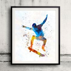 Man skateboard 01 in watercolor  Fine Art Print by Paulrommer