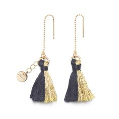 Bicolor Tassel Earrings / Black×Gold