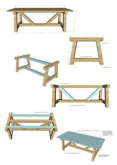 : Scaling down full size furniture plans to doll size. Diy Furniture Table, Diy Dining Table, Diy Furniture Plans Wood Projects, Dining Table Design, Woodworking Projects Diy, Handmade Furniture, Rustic Furniture, Woodworking Plans, Furniture Dolly