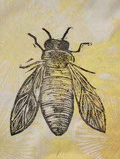 Lino print Bee