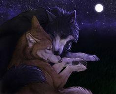 Commission - Midnight Nuzzle by jocarra on DeviantArt - Wolf – Zeichnung - Wolf Deviantart, Anime Wolf Drawing, Wolf Artwork, Wolf Images, Demon Wolf, Werewolf Art, Wolf Spirit Animal, Anime Sensual, Fantasy Wolf
