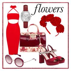 """flowers"" by anicagrbesa ❤ liked on Polyvore featuring Furla, Miu Miu and GUESS"