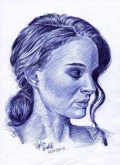 Biro Art, Ballpoint Pen Drawing, Amazing Drawings, Art Drawings, Natalie Portman, Fountain Pen Drawing, Pen Sketch, Sketches, Colossal Art