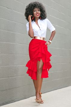 Style Pantry | Ruffled Button Down Shirt + Ruffled Front Slit Skirt