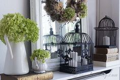 Fall_mantel_decoration_bird_cage_mirror