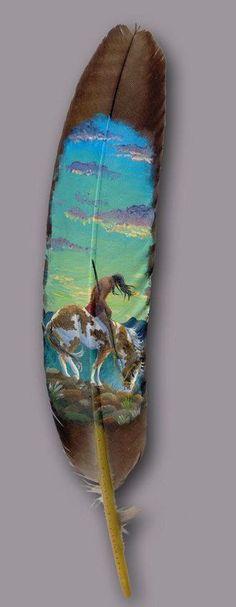 Featherlady Studio: the wildlife art of Northwest artist Julie Thompson. Painted feathers since Wildlife, paintings, illustration. Native American Artwork, Native American Beauty, Native American Crafts, American Indian Art, Native American Indians, Feather Painting, Feather Art, Parrot Feather, Native Indian