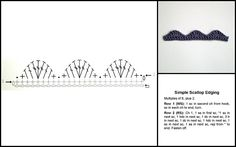 Simple crochet scallop edging diagram, pattern and sample