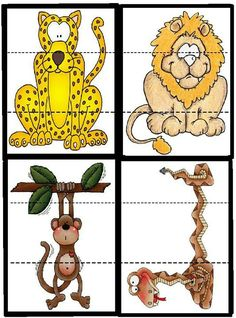 Animal Activities, Animal Crafts, Toddler Activities, Preschool Activities, Tier Puzzle, Jungle Theme, Preschool Kindergarten, Jungle Animals, Business For Kids