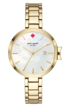 Free shipping and returns on kate spade new york park row bracelet watch, 34mm at Nordstrom.com. A bow-shaped crown adds subtle playfulness to this sophisticated mother-of-pearl watch.