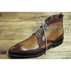 men's boots bespoke handmade shoes stunning wingtip brogue ox boots genuine  leather  HD-B003