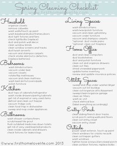 #SpringCleaning Printable Checklist. A free printable to jumpstart your spring cleaning! #itching4spring. Thanks @FirstHomeLove!