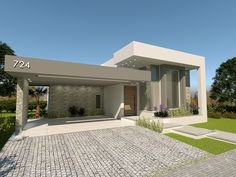 Simple Bungalow House Designs, Modern Exterior House Designs, Small House Exteriors, Modern Bungalow House, Unique House Design, House Front Design, Modern Architecture House, Luxury Homes Exterior, Luxury Modern Homes