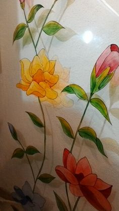 Vetro decorato a mano...fiori!!