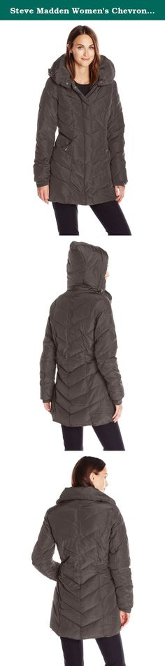 Steve Madden Women's Chevron Packable Puffer Jacket with Hood, Titanium, Medium. Fashion and chic. All expressed in this exquisite coat by Steve Madden. Designed with the aristocratic woman in mind, this coat will keep you warm against winter's cold and chills, thus remaining stylish. Thick down alternative material fills its outer-shell and its detachable hood is elasticized to seal warmth in. Features include ultra soft interior fleece lining, interior fleece cuffs and front hand…