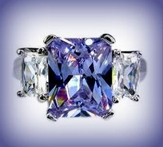 Lab Tanzanite Ring 18K White Gold Plated SZ 6/7/8. Starting at $8 on Tophatter.com!
