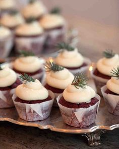 30 Winter Wedding Ideas That Are GorgeousAF Winter wedding ideas for sweet treats—A tray of cupcakes topped with greenery on a table gorgeousaf ideas wedding winter winteractivities winterchristmas winterillustration winternature winterpictures winte Winter Wedding Cupcakes, Winter Wedding Decorations, Dessert Wedding, Winter Cupcakes, Elegant Winter Wedding, Rustic Wedding, Wedding Simple, Winter Wedding Ideas, Winter Bride