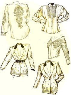 Fashion illustration -Flat sketches in action! My vintage images style by Pilar