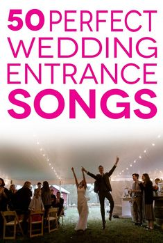 Wedding Entrance Songs To Get The Party Started 50 perfect wedding entrance songs in pink lettering overlaying a photo of a couple joyfully entering their wedding reception Wedding Entrance Songs Reception, Wedding Walk Out Songs, Bridal Party Entrance Song, Best Wedding Songs, Wedding Party Songs, Wedding Playlist, Wedding Music, Wedding Ideas, Wedding Planning