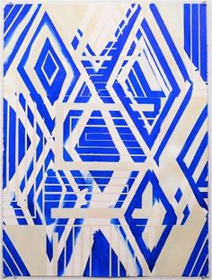 """Blue Wausau, 30""""x22"""", acrylic and spray paint on paper"""