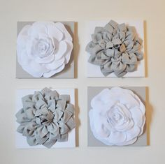 Wall Decor SET OF FOUR Gray and White Flower Wall by bedbuggs, $120.00
